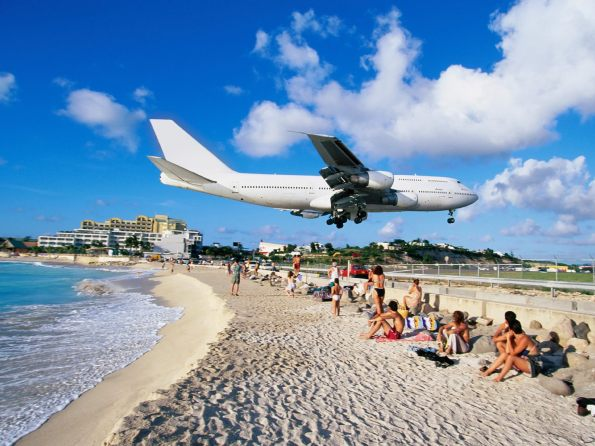 Airplane Landing at Airport, Maho Bay, Saint Martin